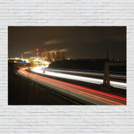 Ferrybridge by Night Photo Canvas Print